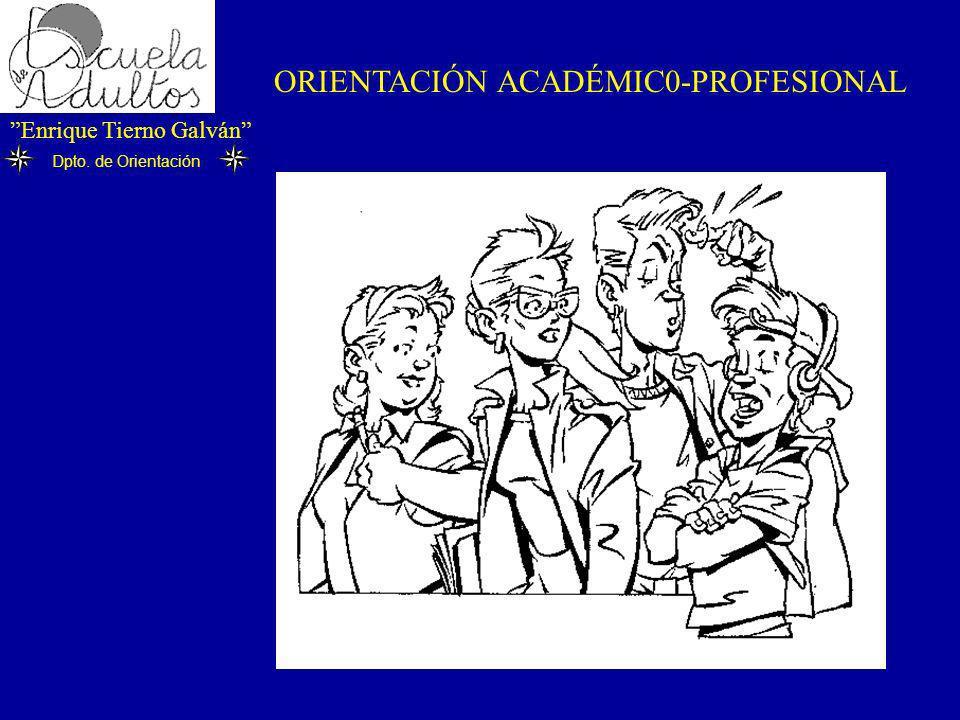 Enrique Tierno Galván Dpto. de Orientación ORIENTACIÓN ACADÉMIC0-PROFESIONAL