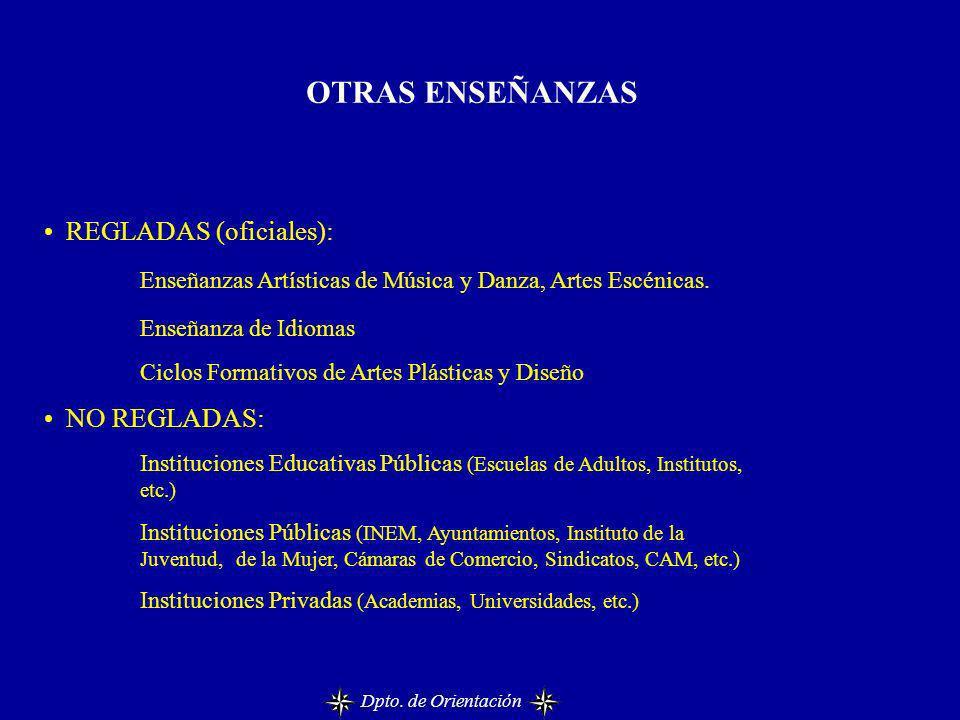 OTRAS ENSEÑANZAS REGLADAS (oficiales): Enseñanzas Artísticas de Música y Danza, Artes Escénicas. Enseñanza de Idiomas Ciclos Formativos de Artes Plást