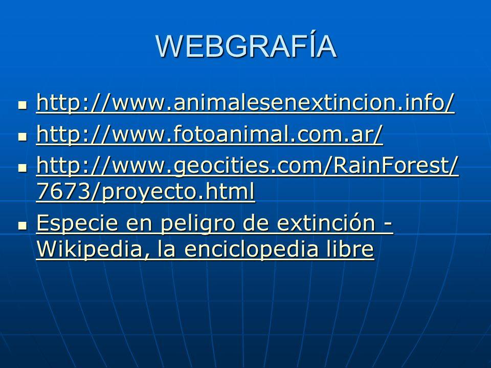 WEBGRAFÍA http://www.animalesenextincion.info/ http://www.animalesenextincion.info/ http://www.animalesenextincion.info/ http://www.fotoanimal.com.ar/