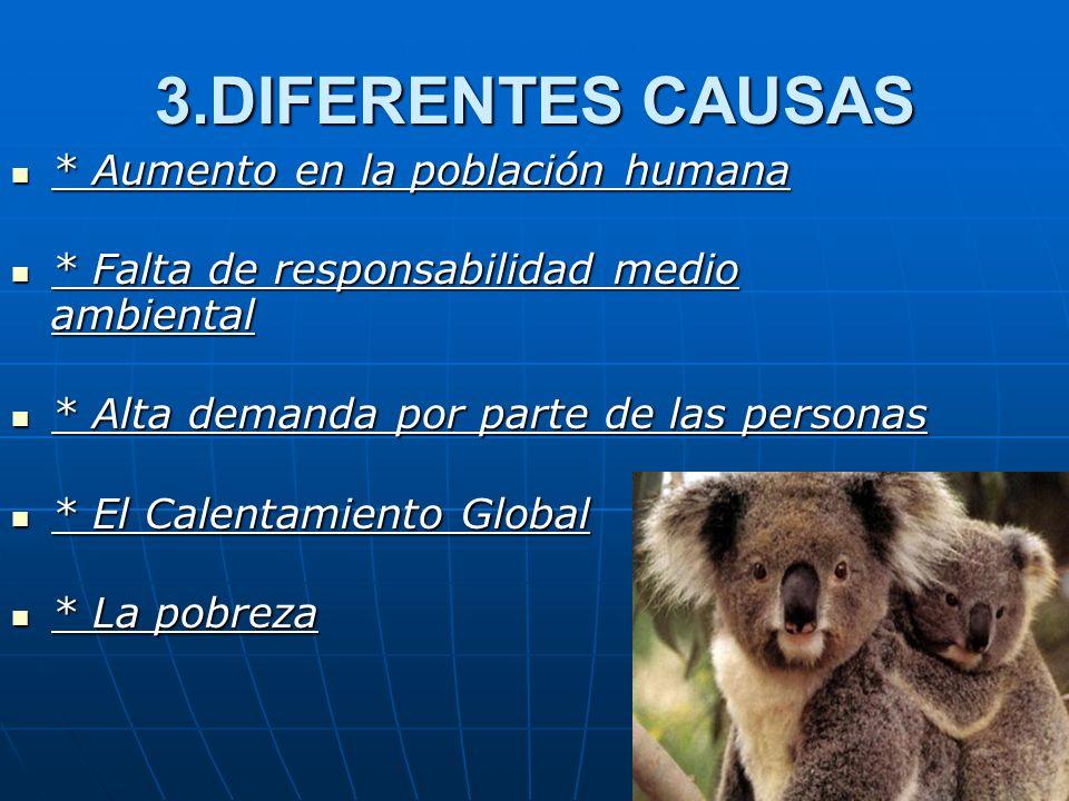 3.DIFERENTES CAUSAS * Aumento en la población humana * Aumento en la población humana * Falta de responsabilidad medio ambiental * Falta de responsabi