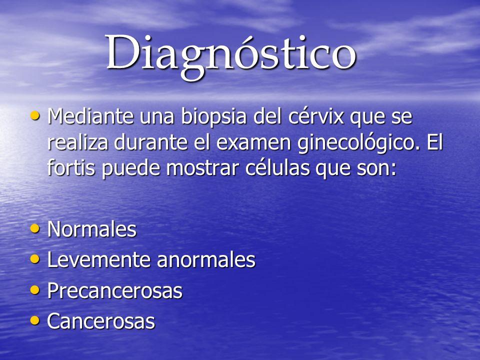 Diagnóstico Diagnóstico Mediante una biopsia del cérvix que se realiza durante el examen ginecológico. El fortis puede mostrar células que son: Median