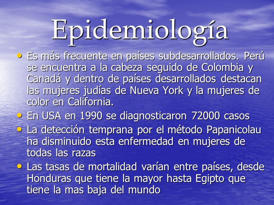 Epidemiología Epidemiología Es más frecuente en países subdesarrollados. Perú se encuentra a la cabeza seguido de Colombia y Canadá y dentro de países