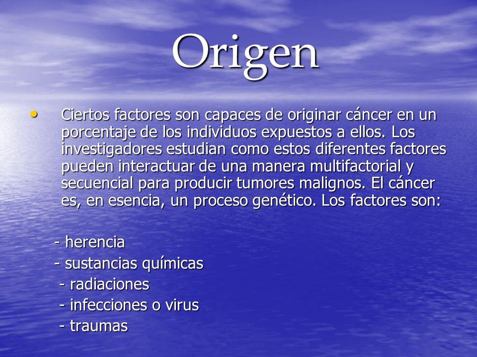 Origen Origen Ciertos factores son capaces de originar cáncer en un porcentaje de los individuos expuestos a ellos. Los investigadores estudian como e