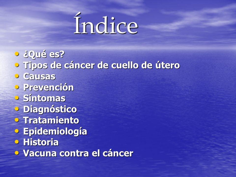 Índice Índice ¿Qué es? ¿Qué es? Tipos de cáncer de cuello de útero Tipos de cáncer de cuello de útero Causas Causas Prevención Prevención Síntomas Sín