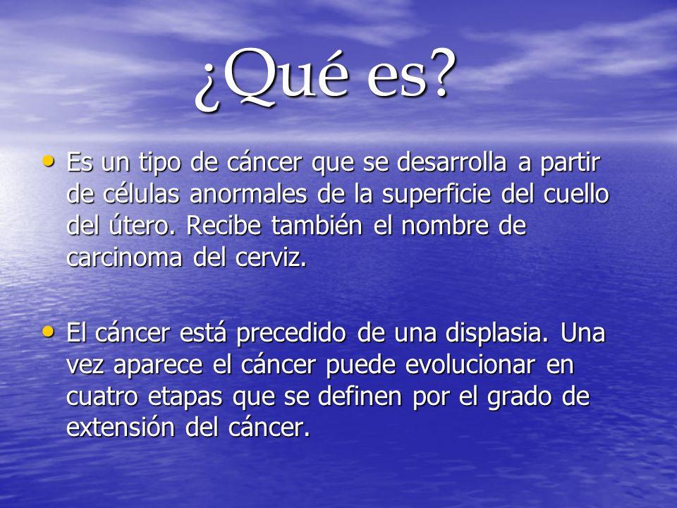 ¿Qué es? ¿Qué es? Es un tipo de cáncer que se desarrolla a partir de células anormales de la superficie del cuello del útero. Recibe también el nombre