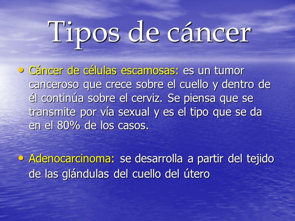 Tipos de cáncer Tipos de cáncer Cáncer de células escamosas: es un tumor canceroso que crece sobre el cuello y dentro de él continúa sobre el cerviz.