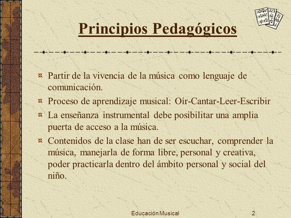 Educación Musical2 Principios Pedagógicos Partir de la vivencia de la música como lenguaje de comunicación. Proceso de aprendizaje musical: Oír-Cantar