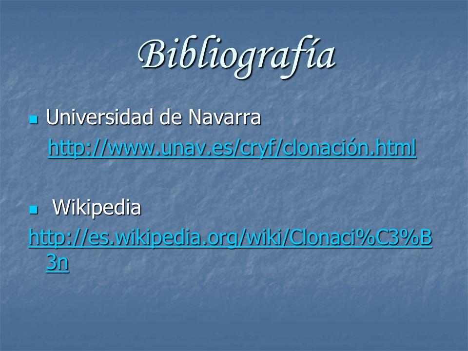 Bibliografía Universidad de Navarra Universidad de Navarra http://www.unav.es/cryf/clonación.html http://www.unav.es/cryf/clonación.html Wikipedia Wik