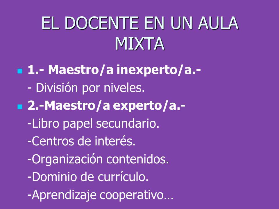 EL DOCENTE EN UN AULA MIXTA 1.- Maestro/a inexperto/a.- - División por niveles. 2.-Maestro/a experto/a.- -Libro papel secundario. -Centros de interés.