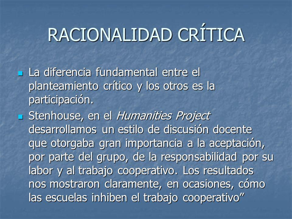 RACIONALIDAD CRÍTICA La diferencia fundamental entre el planteamiento crítico y los otros es la participación. La diferencia fundamental entre el plan