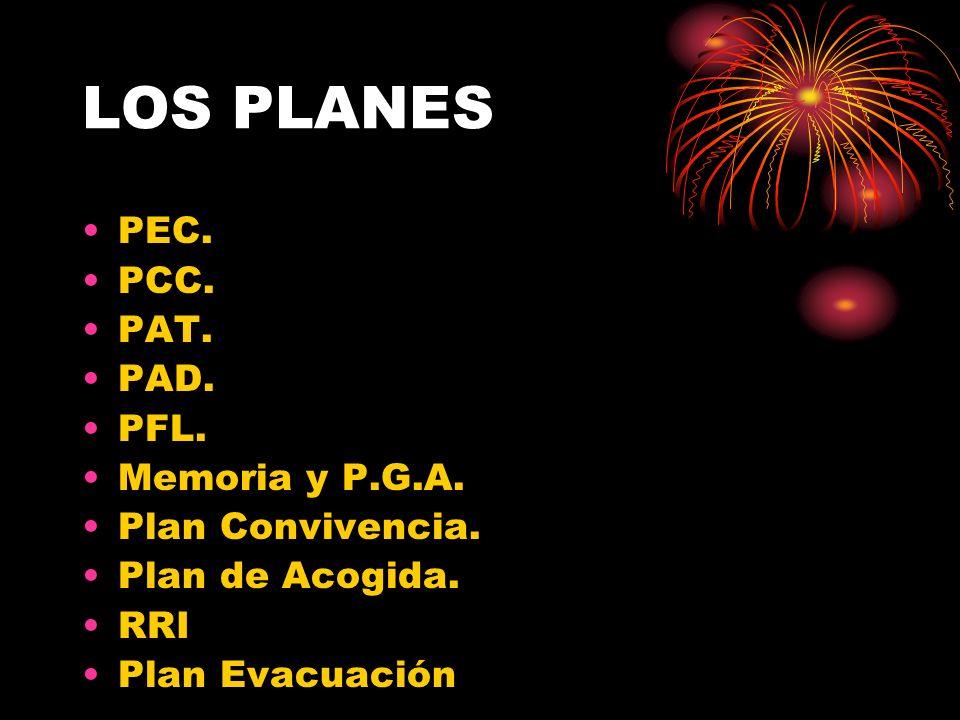 LOS PLANES PEC. PCC. PAT. PAD. PFL. Memoria y P.G.A. Plan Convivencia. Plan de Acogida. RRI Plan Evacuación