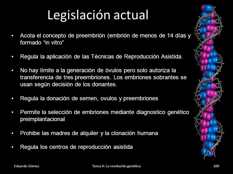 Eduardo GómezTema 4: La revolución genética101 Clonación Es la obtención de copias (ADN, células u organismos) genéticamente iguales.