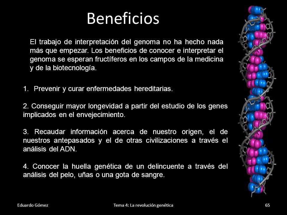 Problemas éticos Eduardo GómezTema 4: La revolución genética66 Pero el conocimiento del código de un genoma abre las puertas para nuevos conflictos ético-morales.