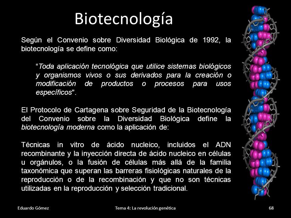 Historia Eduardo GómezTema 4: La revolución genética69 Se han aplicado procesos biotecnológicos desde muy antiguo (aunque sin saber nada de biotecnología): 8000 a.