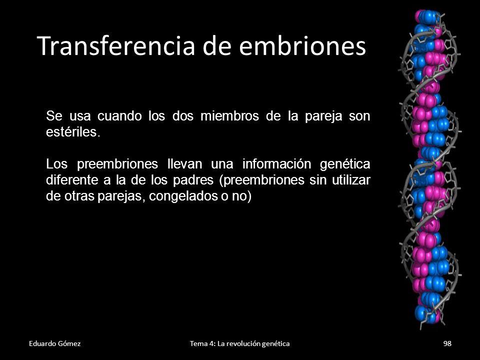Eduardo GómezTema 4: La revolución genética99 Regulación de la fecundación asistida En España está regulada desde 1988.
