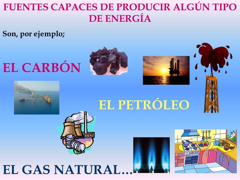 FUENTES CAPACES DE PRODUCIR ALGÚN TIPO DE ENERGÍA Son, por ejemplo; EL CARBÓN EL PETRÓLEO EL GAS NATURAL…