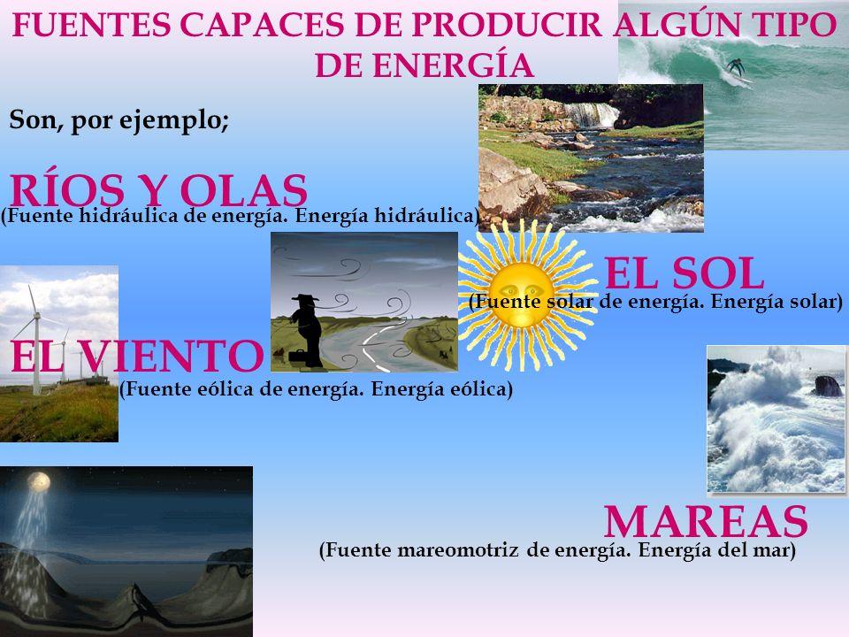 FUENTES CAPACES DE PRODUCIR ALGÚN TIPO DE ENERGÍA Son, por ejemplo; RÍOS Y OLAS EL SOL EL VIENTO MAREAS (Fuente hidráulica de energía. Energía hidrául