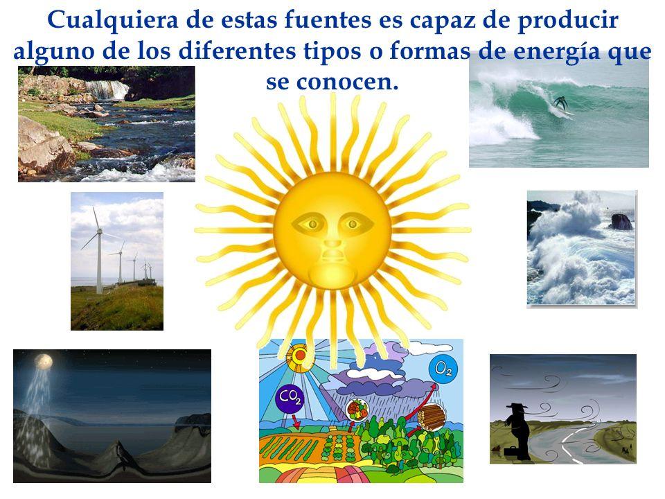 Cualquiera de estas fuentes es capaz de producir alguno de los diferentes tipos o formas de energía que se conocen.
