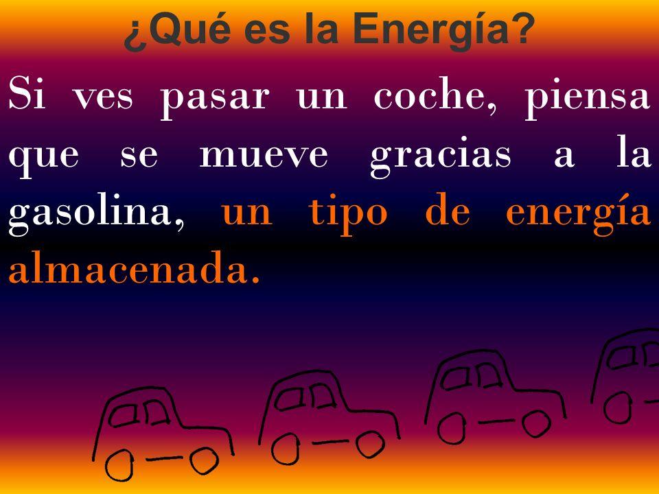Si ves pasar un coche, piensa que se mueve gracias a la gasolina, un tipo de energía almacenada.