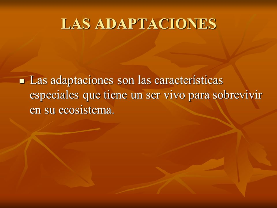 LAS ADAPTACIONES Las adaptaciones son las características especiales que tiene un ser vivo para sobrevivir en su ecosistema. Las adaptaciones son las