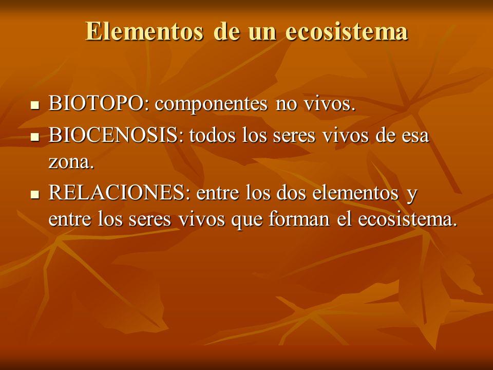 Elementos de un ecosistema BIOTOPO: componentes no vivos. BIOTOPO: componentes no vivos. BIOCENOSIS: todos los seres vivos de esa zona. BIOCENOSIS: to