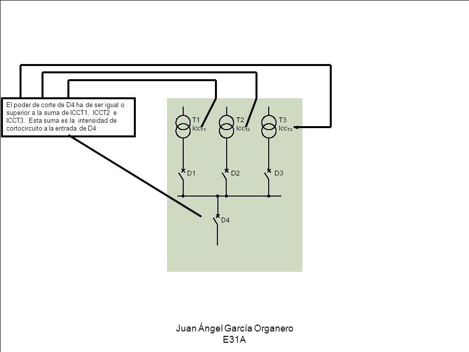 Juan Ángel García Organero E31A El poder de corte de D4 ha de ser igual o superior a la suma de ICCT1, ICCT2 e ICCT3. Esta suma es la intensidad de co