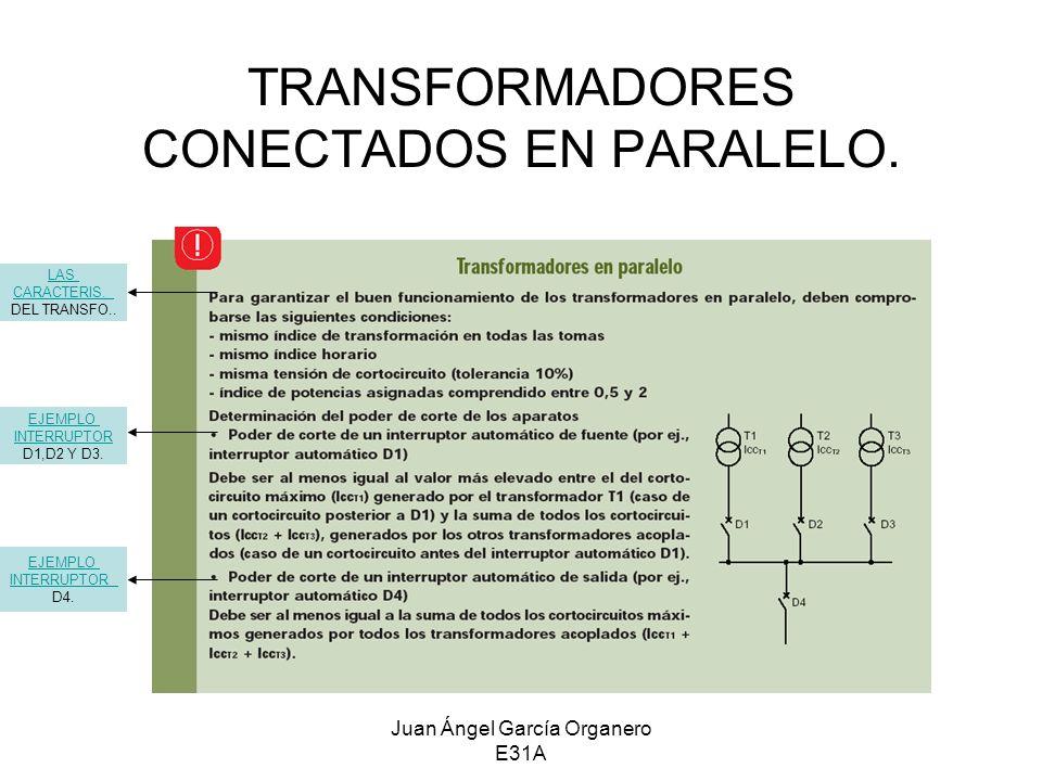Juan Ángel García Organero E31A TRANSFORMADORES CONECTADOS EN PARALELO. EJEMPLO INTERRUPTOR D1,D2 Y D3. EJEMPLO INTERRUPTOR D4. LAS CARACTERIS. DEL TR