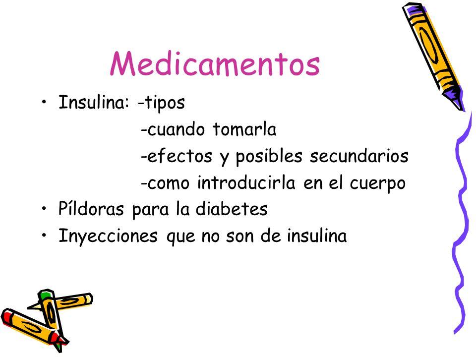 Medicamentos Insulina: -tipos -cuando tomarla -efectos y posibles secundarios -como introducirla en el cuerpo Píldoras para la diabetes Inyecciones qu