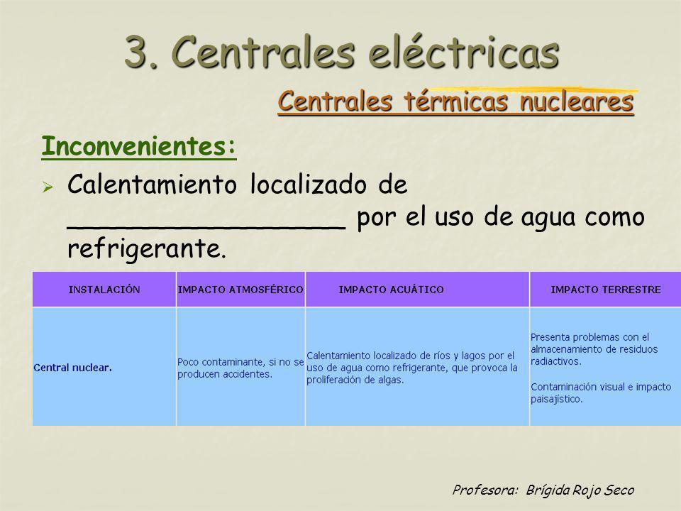Profesora: Brígida Rojo Seco Centrales térmicas nucleares Inconvenientes: Calentamiento localizado de _________________ por el uso de agua como refrig
