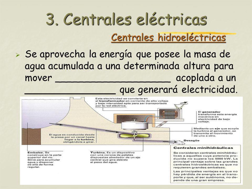 Profesora: Brígida Rojo Seco Centrales hidroeléctricas Se aprovecha la energía que posee la masa de agua acumulada a una determinada altura para mover