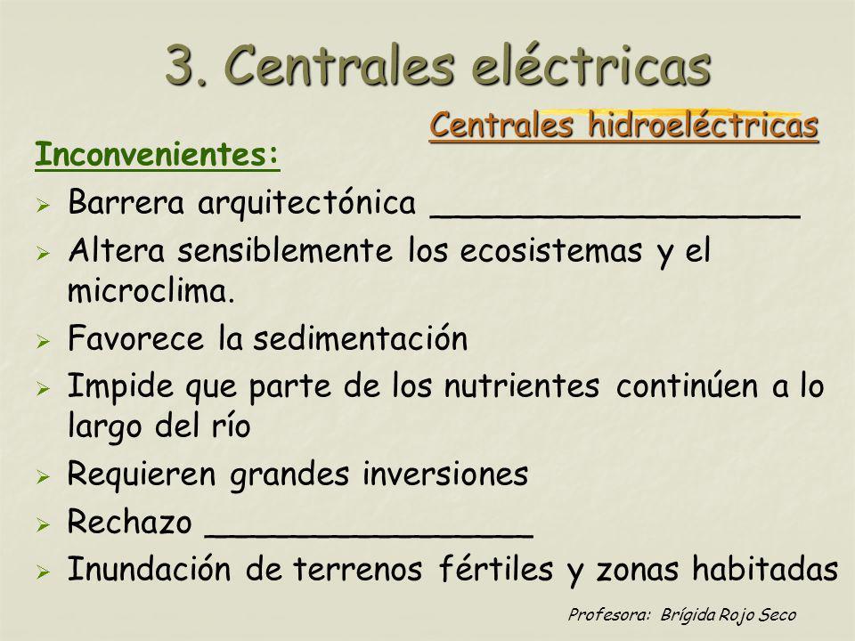Profesora: Brígida Rojo Seco Centrales hidroeléctricas Inconvenientes: Barrera arquitectónica __________________ Altera sensiblemente los ecosistemas