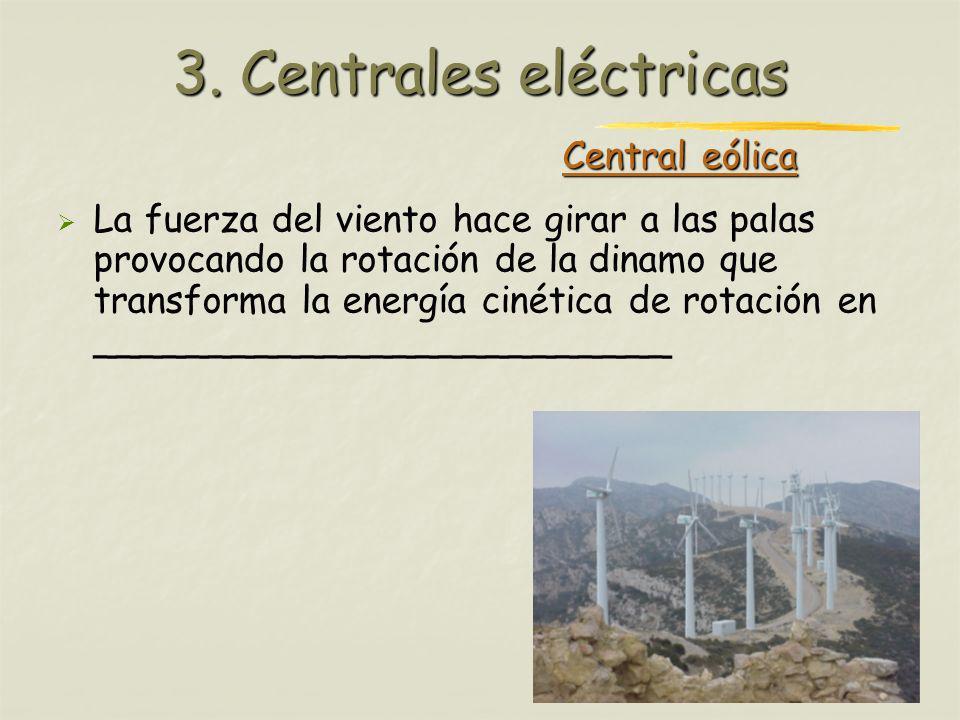 Profesora: Brígida Rojo Seco Central eólica La fuerza del viento hace girar a las palas provocando la rotación de la dinamo que transforma la energía