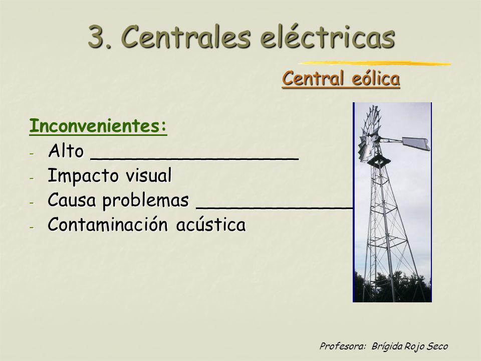 Profesora: Brígida Rojo Seco Central eólica Inconvenientes: - Alto __________________ - Impacto visual - Causa problemas ____________________ - Contam