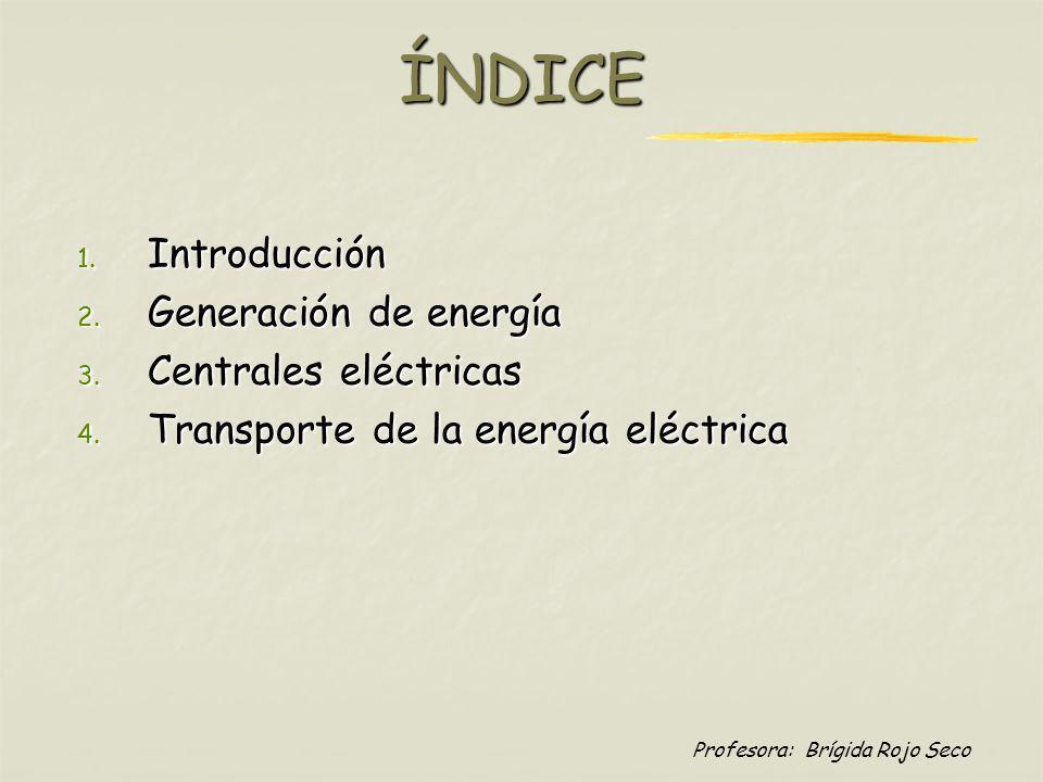 Profesora: Brígida Rojo SecoÍNDICE 1. Introducción 2. Generación de energía 3. Centrales eléctricas 4. Transporte de la energía eléctrica