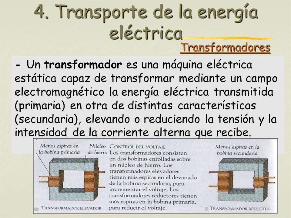 Profesora: Brígida Rojo Seco 4. Transporte de la energía eléctrica - Un transformador es una máquina eléctrica estática capaz de transformar mediante