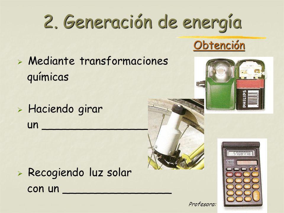 Profesora: Brígida Rojo Seco Obtención Mediante transformaciones químicas Haciendo girar un ________________ Recogiendo luz solar con un _____________