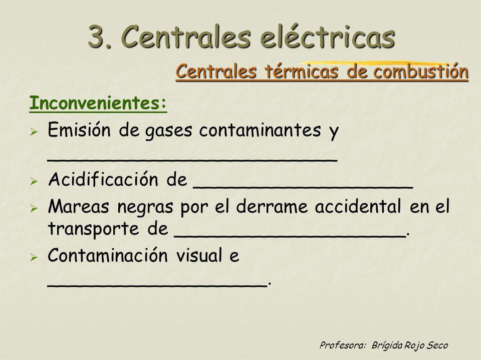 Profesora: Brígida Rojo Seco Central eólica Ventajas: - No utiliza _________________ - Cero _____________________ - Ahorro de líneas eléctricas en lugares aislados - Posibilidad de combinar con motores de con motores de combustión combustión 3.