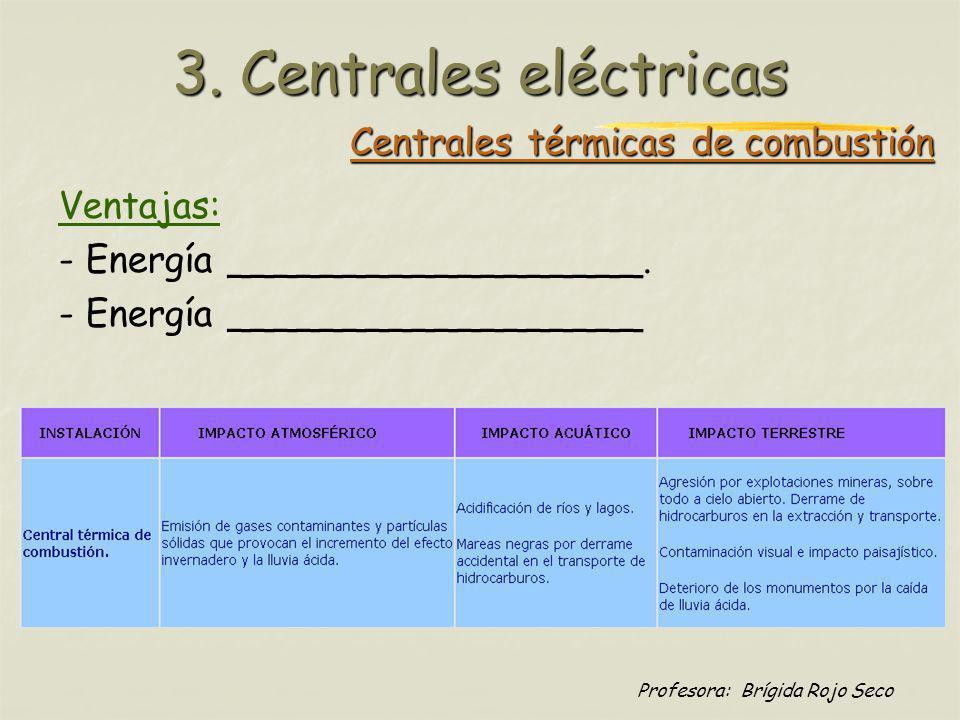Profesora: Brígida Rojo Seco Centrales térmicas nucleares La ______________________ es la energía que se genera al provocar la ruptura de un núcleo atómico de material radioactivo, esto es, la que produce ________________ Ventajas: Poco ________________________, si no se producen accidentes.