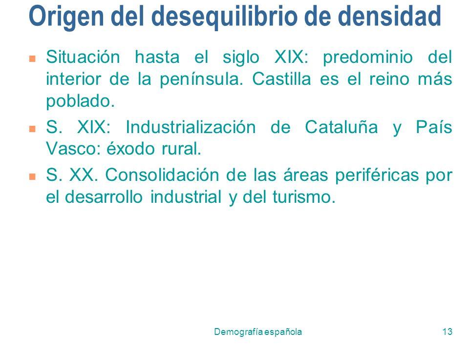 Demografía española13 Origen del desequilibrio de densidad Situación hasta el siglo XIX: predominio del interior de la península. Castilla es el reino