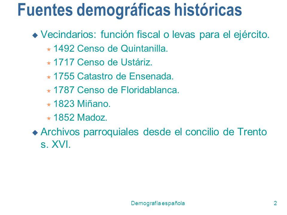 2 Fuentes demográficas históricas Vecindarios: función fiscal o levas para el ejército. 1492 Censo de Quintanilla. 1717 Censo de Ustáriz. 1755 Catastr