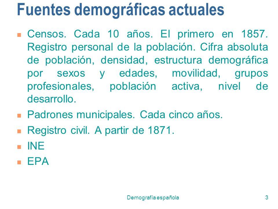 Demografía española3 Fuentes demográficas actuales Censos. Cada 10 años. El primero en 1857. Registro personal de la población. Cifra absoluta de pobl