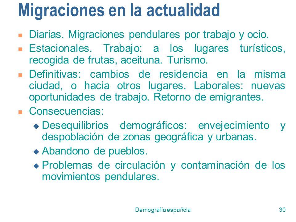 Demografía española30 Migraciones en la actualidad Diarias. Migraciones pendulares por trabajo y ocio. Estacionales. Trabajo: a los lugares turísticos
