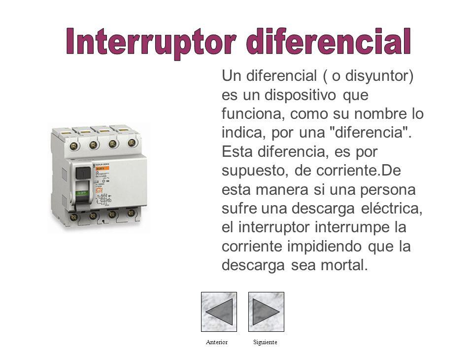Un diferencial ( o disyuntor) es un dispositivo que funciona, como su nombre lo indica, por una diferencia .