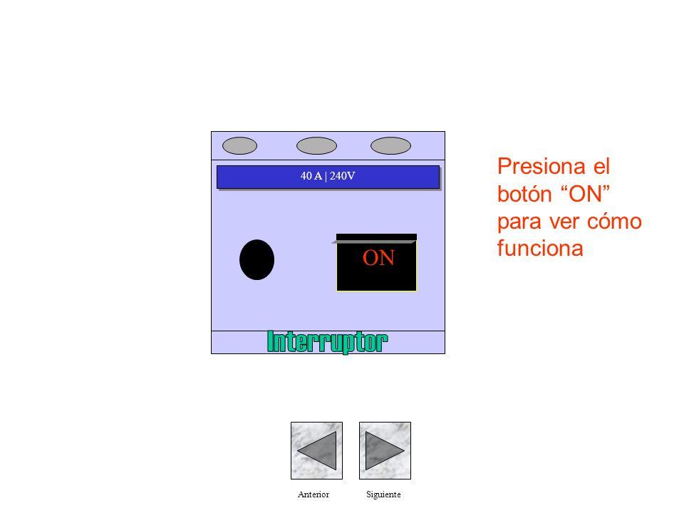 40 A | 240V ON AnteriorSiguiente Presiona el botón ON para ver cómo funciona