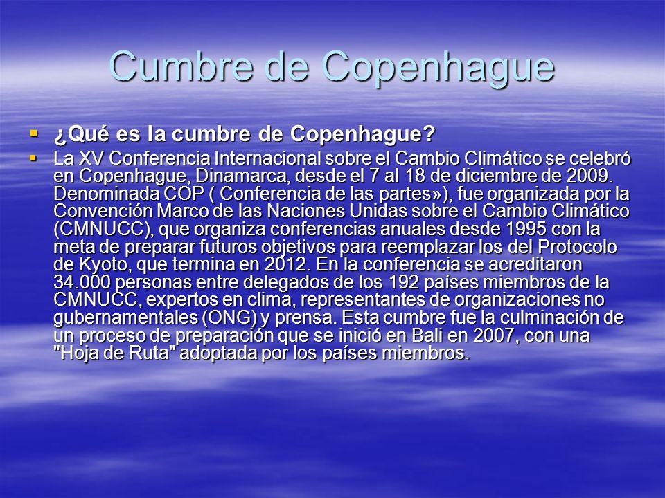 Cumbre de Copenhague ¿Qué es la cumbre de Copenhague? ¿Qué es la cumbre de Copenhague? La XV Conferencia Internacional sobre el Cambio Climático se ce