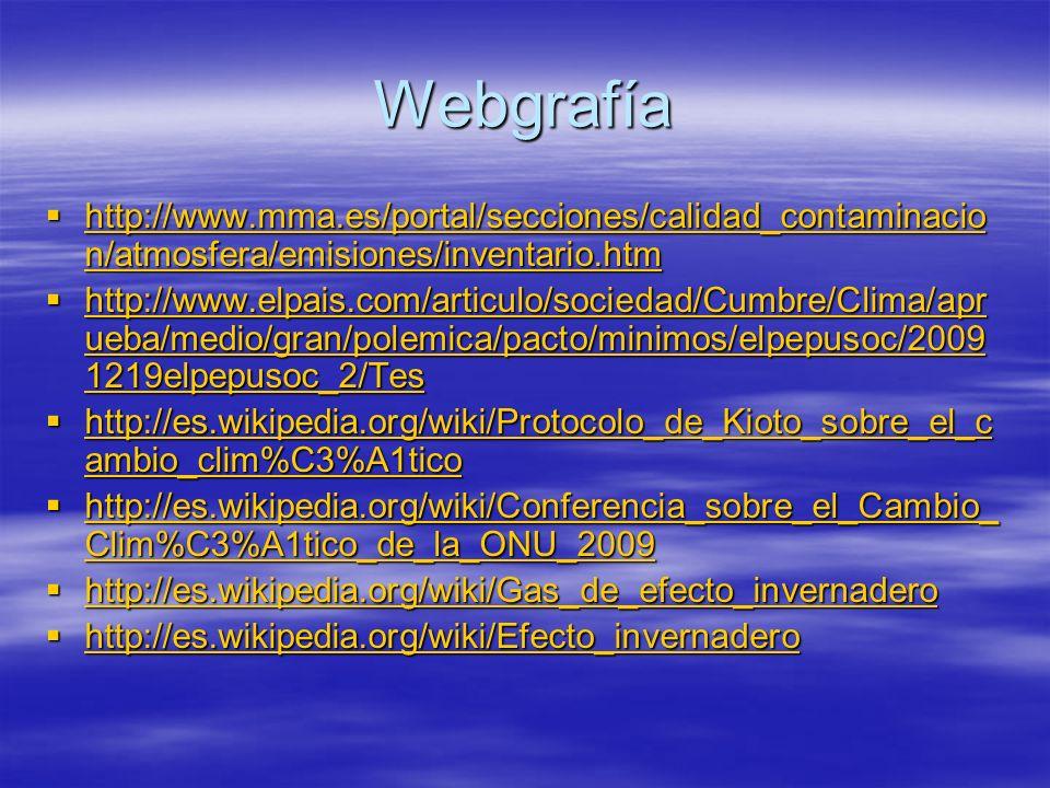 Webgrafía http://www.mma.es/portal/secciones/calidad_contaminacio n/atmosfera/emisiones/inventario.htm http://www.mma.es/portal/secciones/calidad_cont