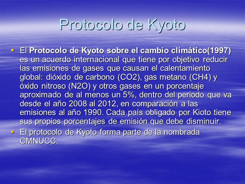 Protocolo de Kyoto El Protocolo de Kyoto sobre el cambio climático(1997) es un acuerdo internacional que tiene por objetivo reducir las emisiones de g