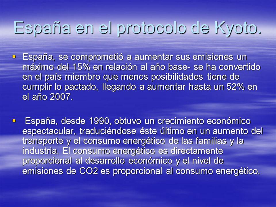 España en el protocolo de Kyoto. España, se comprometió a aumentar sus emisiones un máximo del 15% en relación al año base- se ha convertido en el paí