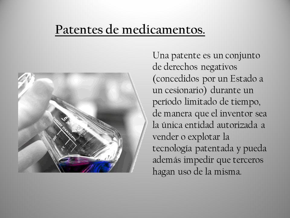 Patentes de medicamentos. Una patente es un conjunto de derechos negativos (concedidos por un Estado a un cesionario) durante un período limitado de t