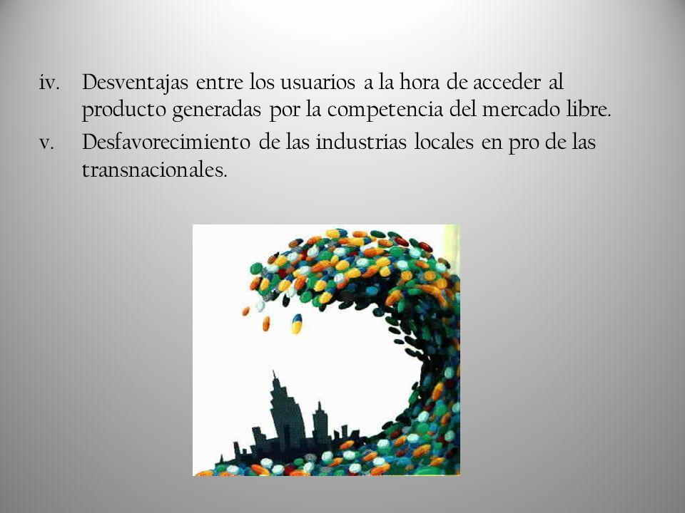iv.Desventajas entre los usuarios a la hora de acceder al producto generadas por la competencia del mercado libre. v.Desfavorecimiento de las industri